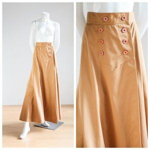 70s High Waist Khaki Camel Full A line Maxi Skirt